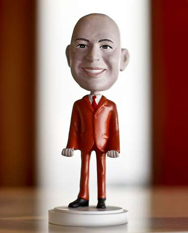 An Ido Leffler bobblehead sits on his desk. Photo: Russell Yip, The Chronicle
