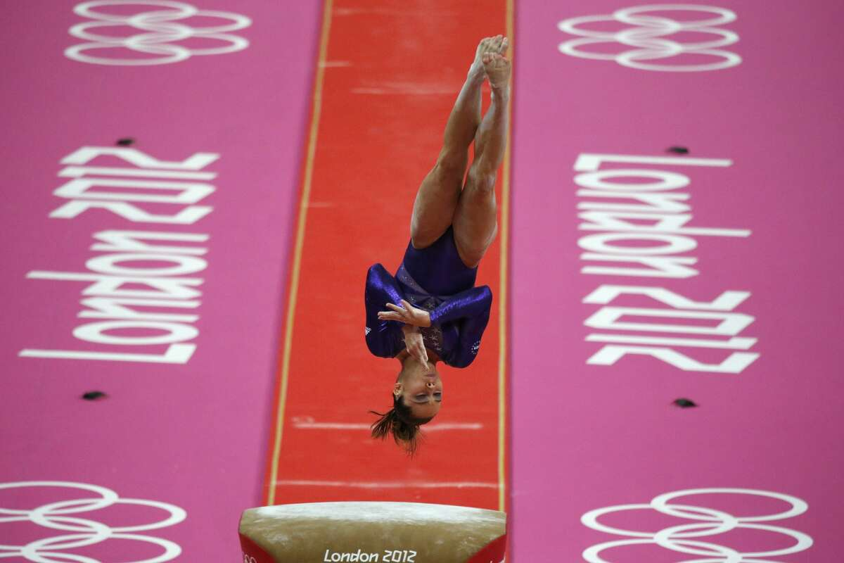 US gymnast McKayla Maroney performs on the vault during the women's qualification of the artistic gymnastics event of the London Olympic Games on July 29, 2012 at the 02 North Greenwich Arena in London. (Thomas Coex / AFP/Getty Images)