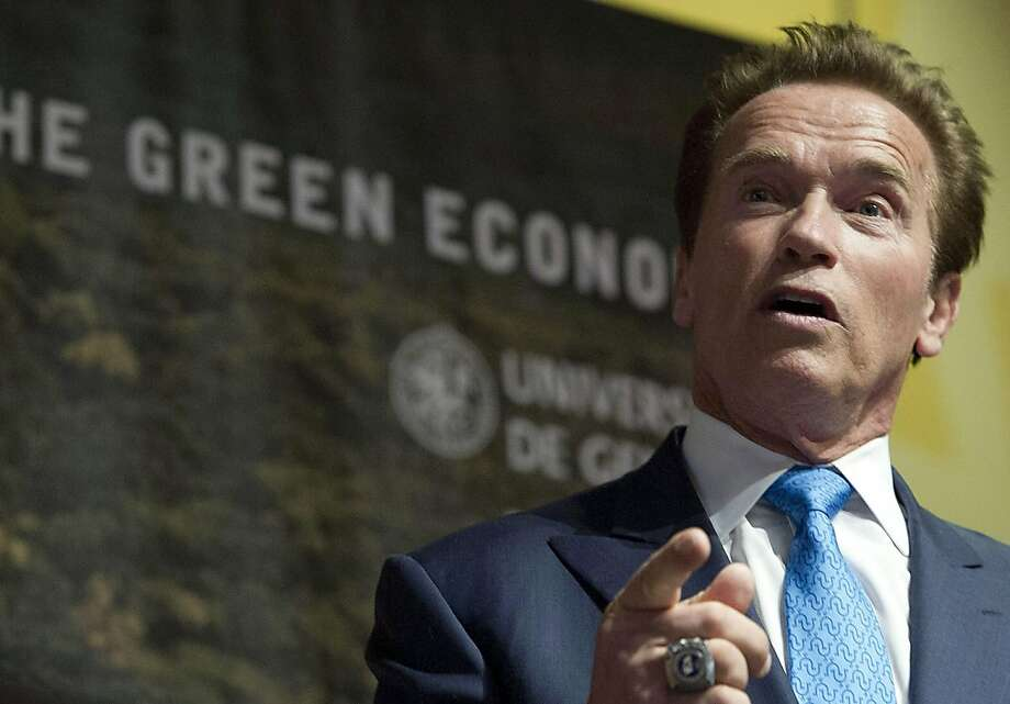 Arnold Schwarzenegger, former governor of California, speaks during a sustainable development conference in Geneva, Switzerland in March 2012. Schwarzenegger and the University of Southern California are partnering to create a policy think tank. The Los Angeles Times reported the USC Schwarzenegger Institute for State and Global Policy will be funded with a Schwarzenegger commitment of $20 million, which will include a personal donation as well as money from his fundraising efforts. Photo: Jean-Christophe Bott, Associated Press