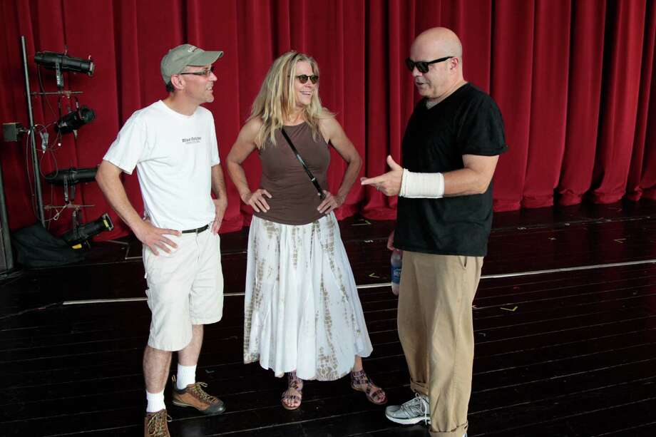"""Actress Cindy Pickett talks with """"The Comedy of Errors"""" director Paul Steger, left, and """"Hamlet"""" director Steve Pickering. Pickett is best known for her role as the mom in """"Ferris Bueller's Day Off."""" Photo: Billy Smith II / © 2012 Houston Chronicle"""