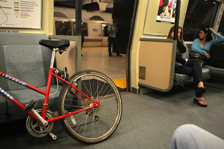 A bicycle is seen on the BART at the Civic Center BART station on Tuesday, July 31, 2012, in San Francisco, Calif. Photo: Megan Farmer, The Chronicle