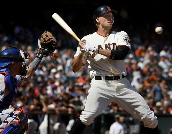 New Giants outfielder Hunter Pence watched a pitch late in the game.  He went hitless but did get an RBI. The San Francisco Giants lost to the New York Mets on the final of a four game series Thursday August 2, 2012 at AT&T park. Photo: Brant Ward, The Chronicle