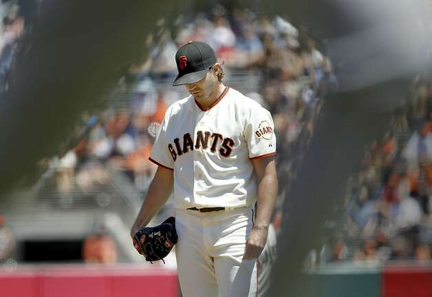 Barry Zito did plenty to put himself in a 4-0 hole in the first inning - walking two, hitting one and allowing two hits - but he didn't receive much support from his offense or defense. Photo: Brant Ward, The Chronicle