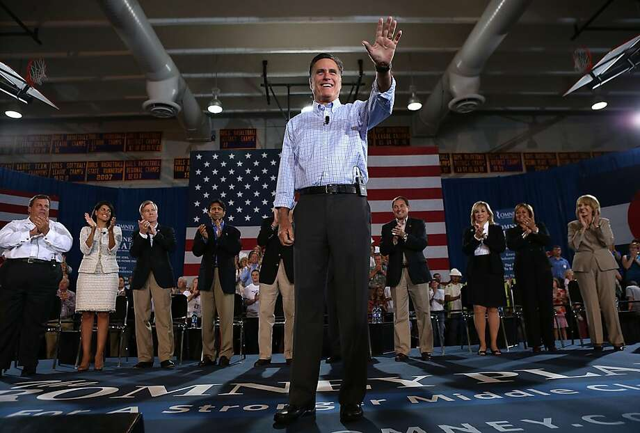 BASALT, CO - AUGUST 02:  Republican presidential candidate and former Massachusetts Gov. Mitt Romney during a campaign event with Republican Governors at Basalt Public High School on August 2, 2012 in Basalt, Colorado. One day after returning from a six-day overseas trip to England, Israel and Poland, Mitt Romney is campaigning in Colorado before heading to Nevada.  (Photo by Justin Sullivan/Getty Images) Photo: Justin Sullivan, Getty Images