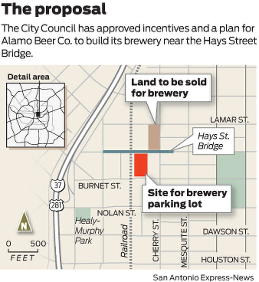 The City Council has approved incentives and a plan for Alamo Beer Co. to build its brewery near the Hays Street Bridge. Photo: Mike Fisher
