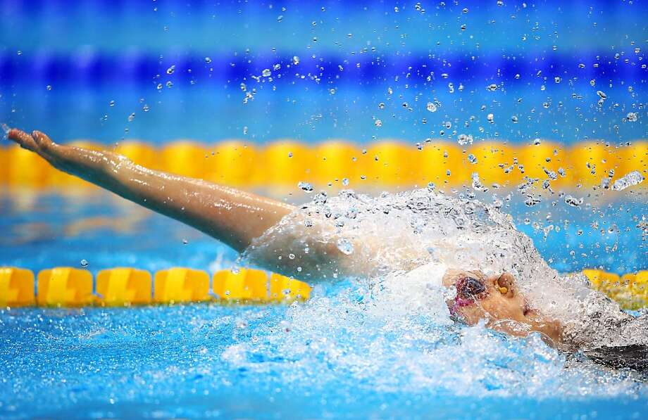LONDON, ENGLAND - AUGUST 02: Missy Franklin of the United States competes in the Women's 200m Backstroke heat 4 on Day 6 of the London 2012 Olympic Games at the Aquatics Centre on August 2, 2012 in London, England.  (Photo by Al Bello/Getty Images) Photo: Al Bello, Getty Images