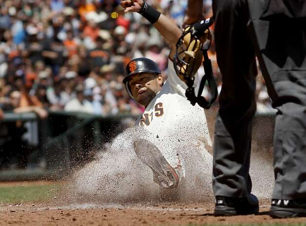 Melky Cabrera scored the Giants only run in the fourth inning. The San Francisco Giants lost to the New York Mets on the final of a four game series Thursday August 2, 2012 at AT&T park. Photo: Brant Ward, The Chronicle
