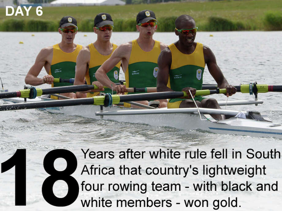 South Africa's James Thompson, from left, Matthew Brittain, John Smith and Sizwe Ndlovu compete to win the gold medal in the men's lightweight four final A on Day 6 of the London 2012 Olympic Games at Eton Dorney on August 2, 2012 in Windsor, England. Photo: Damien Meyer / Getty Images; San Antonio Express-News Photo Illustration / 2012 Getty Images