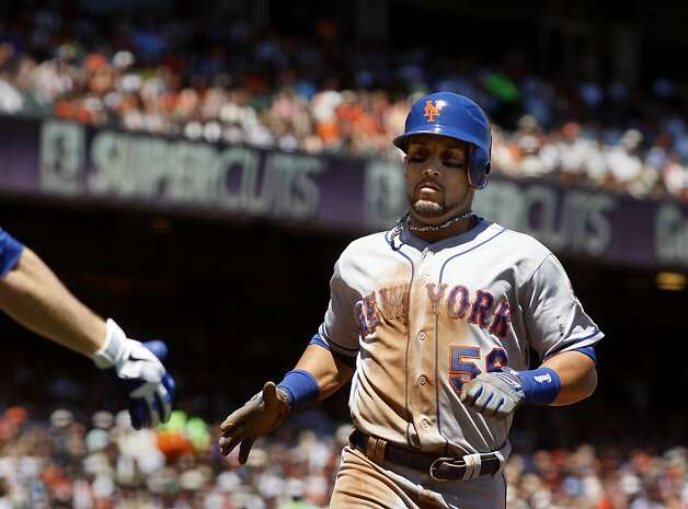 Former Giant Andres Torres scored his second run of the game for the Mets. The San Francisco Giants lost to the New York Mets on the final of a four game series Thursday August 2, 2012 at AT&T park. Photo: Brant Ward, The Chronicle