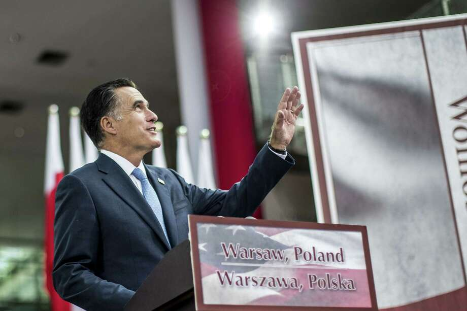 WARSAW, POLAND - JULY 31:  U.S. Republican presidential candidate, former Massachusetts Gov. Mitt Romney, speaks in the Hall of the University of Warsaw Library on July 31, 2012 in Warsaw, Poland. After visiting London, Israel, and the polish city of Gdansk, Romney visits the capital of Poland, Warsaw. Photo: Carsten Koall, Getty Images / 2012 Getty Images