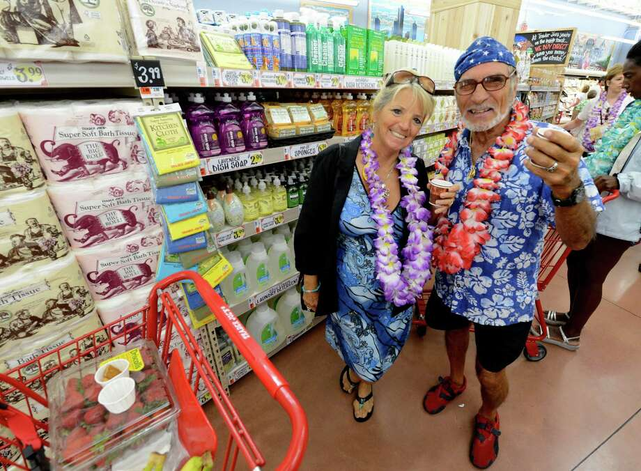 Darlene and Babe Messina just got off a plane from Florida and made a visit to the new Trader Joe's that opened this morning on Wolf Road in Colonie, N.Y. August 3, 2012.     (Skip Dickstein/Times Union) Photo: Skip Dickstein / 00018677A