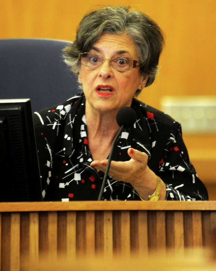 BISD's Janice Brassard questions the redistricting plans during the meeting at the BISD Administration Building in Beaumont, Thursday,  April 19, 2012. Tammy McKinley/The Enterprise Photo: TAMMY MCKINLEY