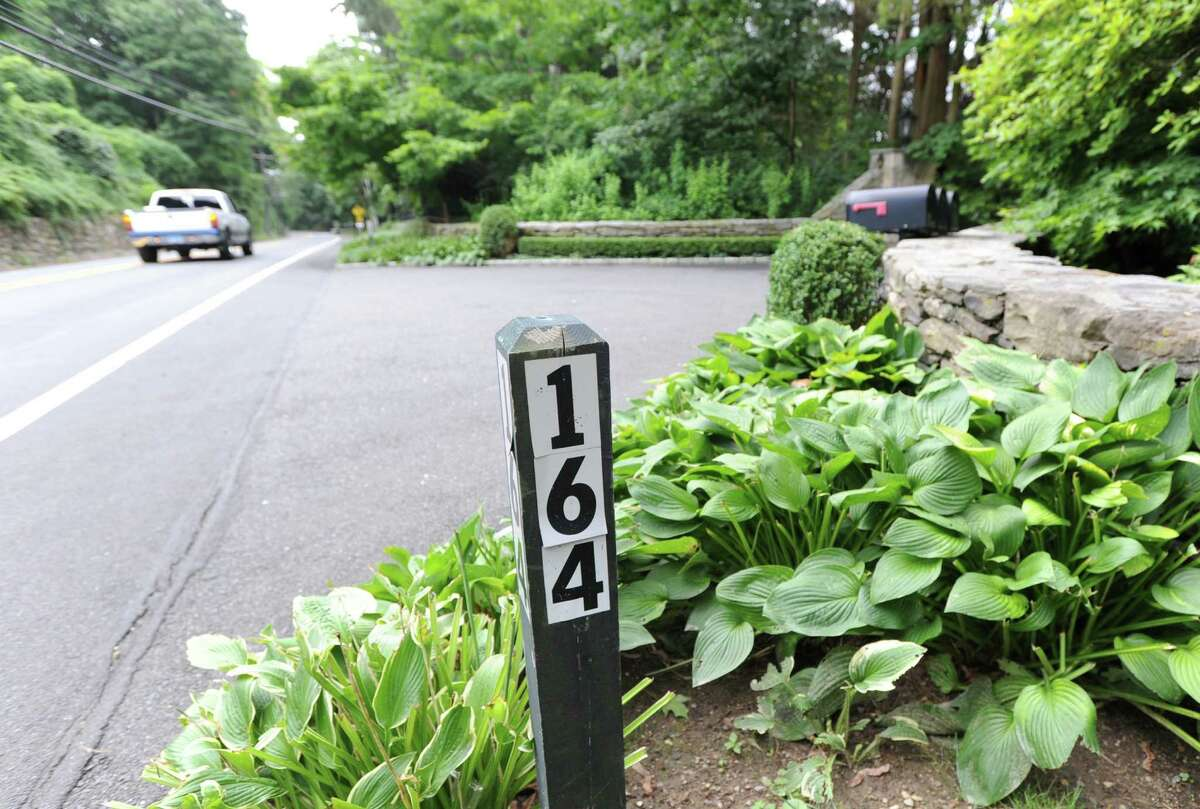 A marker for the property at 164 Round Hill Road, one of the most exclusive estates currently on the market in Greenwich Wednesday, Aug. 1, 2012. Rumors are circulating that Tom Cruise is house-hunting in the tri-state area, including in Greenwich and other towns in lower Fairfield County, as well as in Westchester County, N.Y.