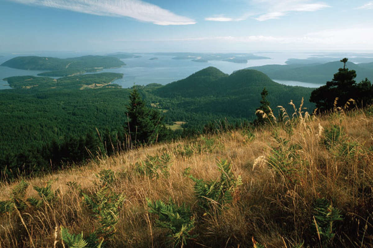 """Best Island views: Undisputed champion is the 2,400-foot summit of Mt. Constitution on Orcas Island, with its sweeping vistas of San Juans, Gulf Islands and Mt. Baker, living up to an early name that translated to """"The Great White Watcher."""""""