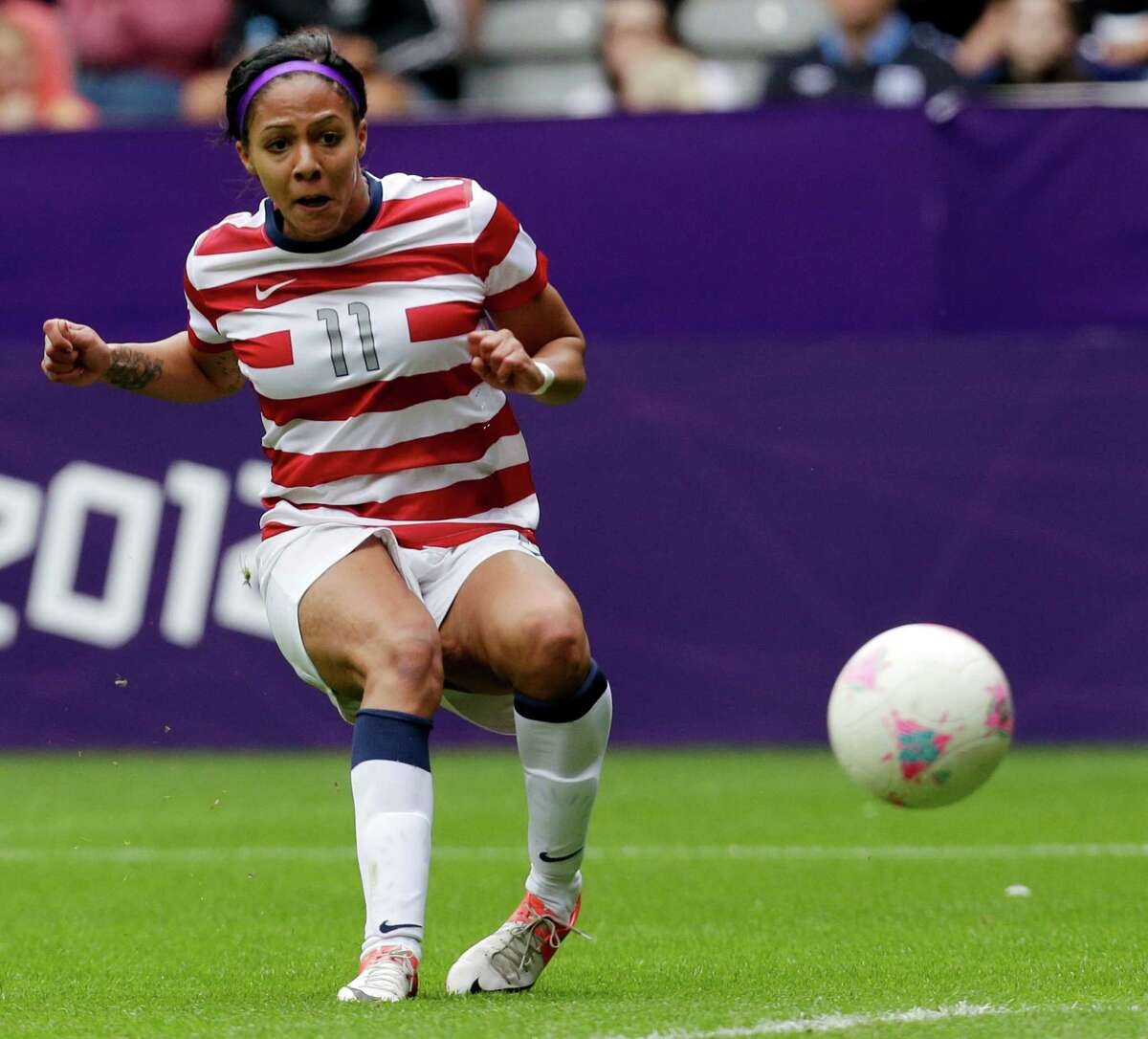 United States' Sydney Leroux watches the ball go into the goal New Zealand's during their quarter-final women's soccer match Friday.
