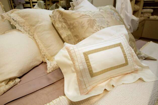Pillow cases and shams are shown at Victoria's Fine Linens Saturday, July 21, 2012, in Houston. ( Brett Coomer / Houston Chronicle ) Photo: Brett Coomer, Houston Chronicle / © 2012 Houston Chronicle