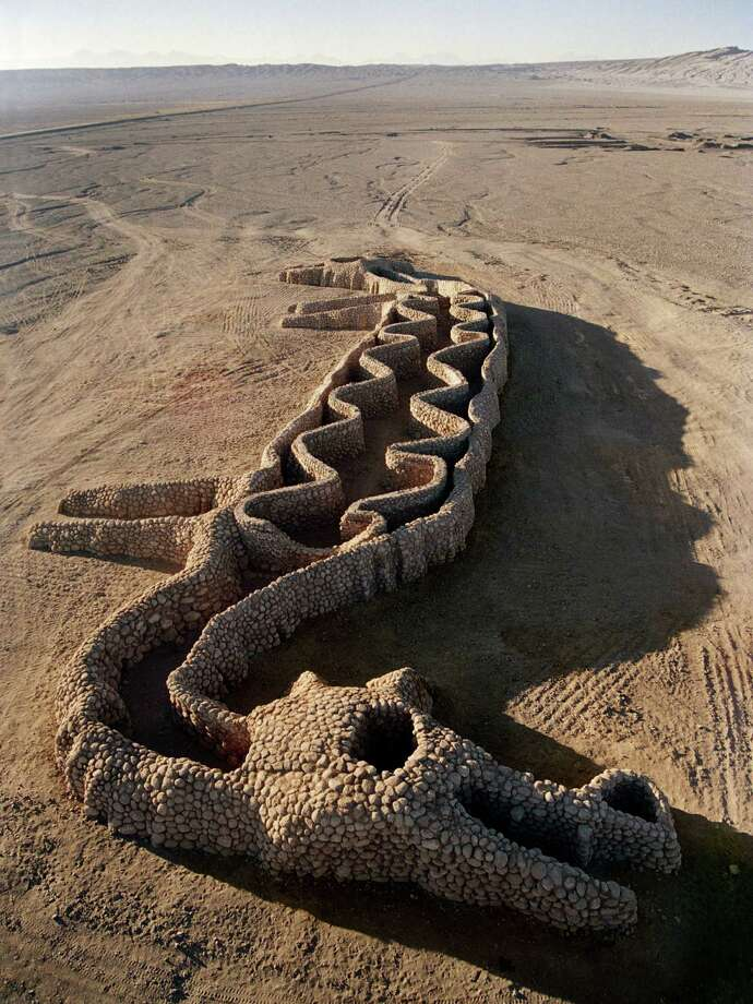"""Andrew Rogers designed the """"Ancient Language"""" geoglyph in Chile's Atacama Desert. The work, 9 feet tall and 263 feet long, was inspired by a petroglyph of the Aguada culture (600-900 A.D.). Photo: Andrew Rogers / POST"""