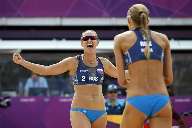 Russian beach volleyball player Anna Vozakova (left) (Jae C. Hong / Associated Press)