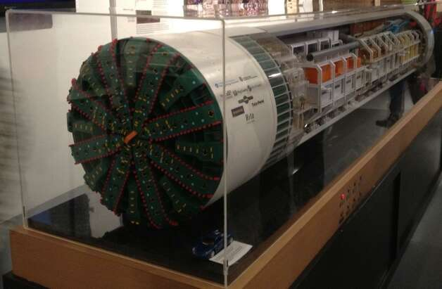 A model of the machine that will bore the State Route 99 tunnel now is on display at the Milepost 31 museum in Pioneer Square. Photo: (SCOTT GUTIERRREZ/SEATTLEPI.COM)