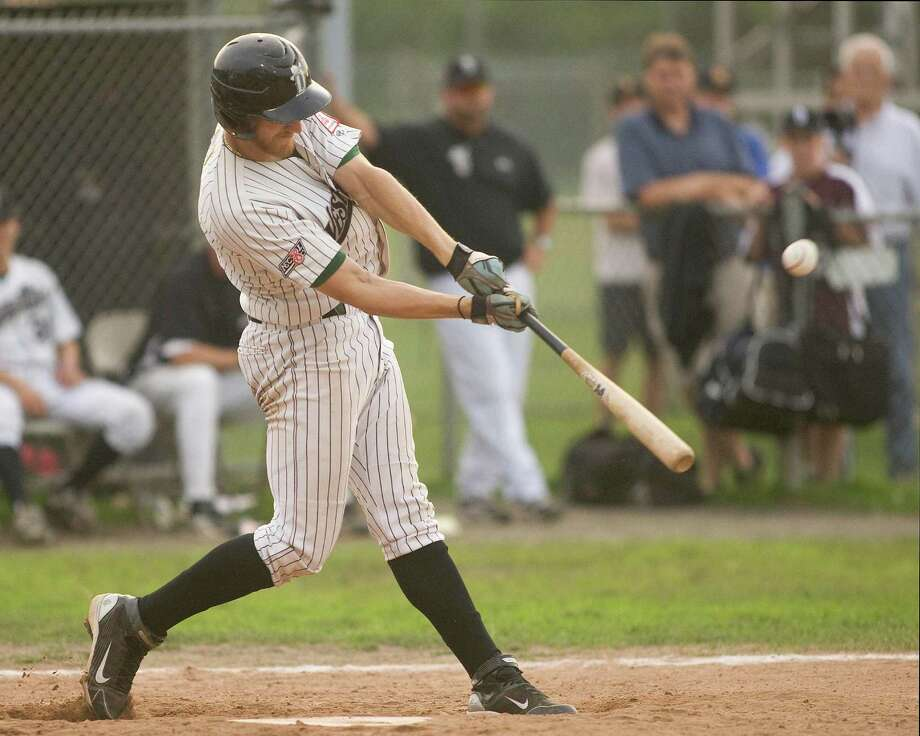 The Westerners' Andrew Garner blasts a three-run homer in the first game of the NECBL Western Division playoffs against the North Adams SteepleCats Friday night at Rogers Park. Photo: Barry Horn