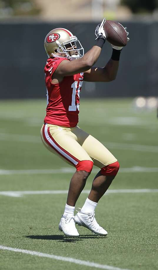 San Francisco 49ers wide receiver Michael Crabtree during training camp at 49ers NFL football headquarters in Santa Clara, Calif., Friday, July 27, 2012. (AP Photo/Paul Sakuma) Photo: Paul Sakuma, Associated Press