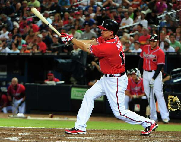ATLANTA, GA - AUGUST 3: Chipper Jones #10 of the Atlanta Braves hits a two run double in the third inning against the Houston Astros at Turner Field on August 3, 2012 in Atlanta, Georgia. Photo: Scott Cunningham, Getty Images / 2012 Getty Images