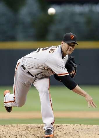 Ryan Vogelsong saw his streak of allowing three or fewer runs end. Photo: Joe Mahoney, Associated Press / SF