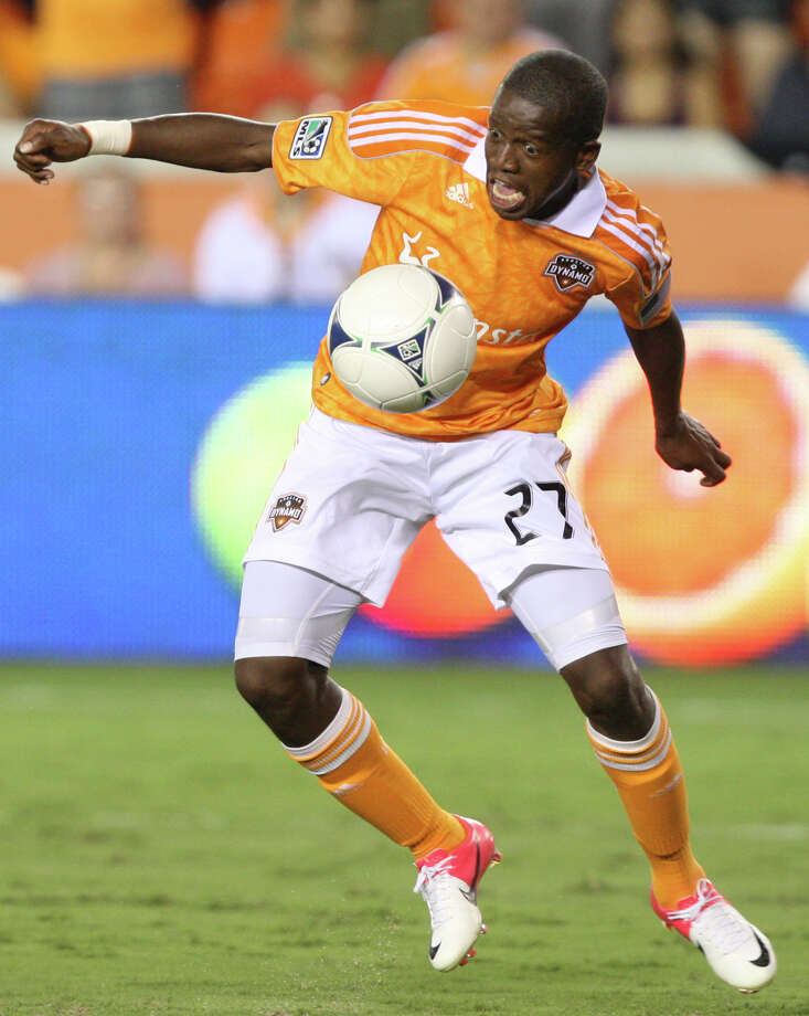 Houston Dynamo midfielder Boniek Garcia (27) controls the ball during the second half of a MLS soccer game against the New York Red Bulls  at BBVA Compass Stadium Friday, Aug. 3, 2012, in Houston, TX. ( J. Patric Schneider / For the Chronicle ) Photo: J. Patric Schneider, Houston Chronicle / © 2012 Houston Chronicle