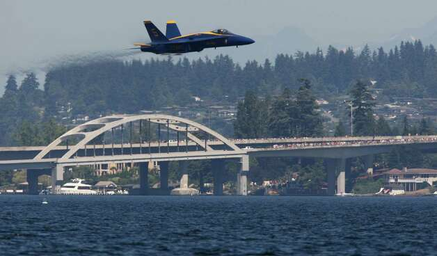 The Blue Angels perform over Lake Washington on Friday, August 3, 2012 during Seafair 2012. Photo: JOSHUA TRUJILLO, SEATTLEPI.COM / Associated Press