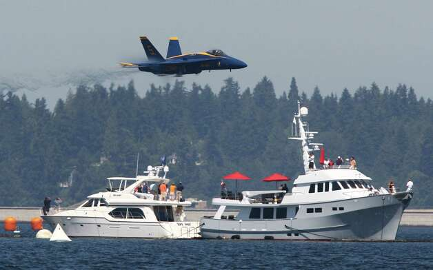 The Blue Angels perform over Lake Washington on Friday, August 3, 2012 during Seafair 2012. Photo: JOSHUA TRUJILLO / SEATTLEPI.COM