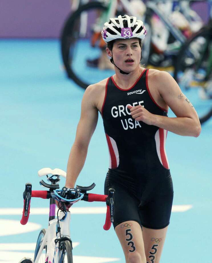 United States' Sarah Groff leaves the transition during the triathlon at the 2012 Summer Olympics, Saturday, Aug. 4, 2012, in London. (AP Photo/Charlie Riedel) Photo: Charlie Riedel