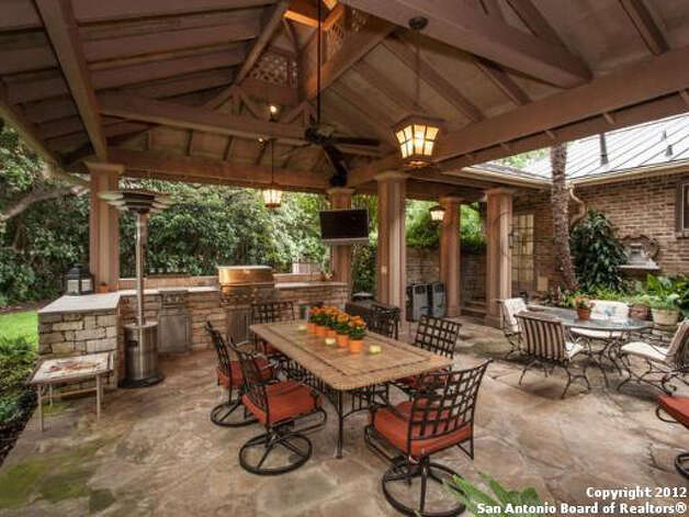 The back yard features a covered patio area with an outdoor kitchen.