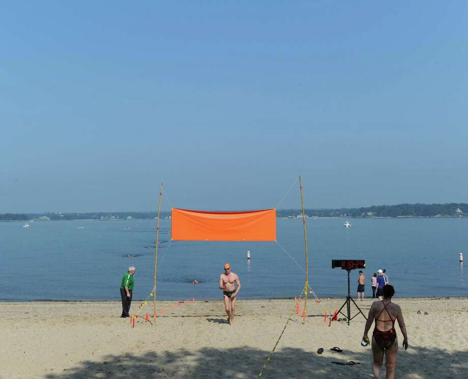 The annual Island Beach Two Mile Swim at Island Beach, Greenwich, Saturday morning, Aug. 4, 2012. Photo: Bob Luckey / Greenwich Time