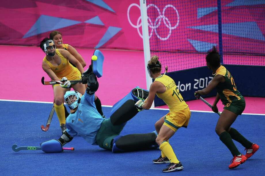 Goalkeeper Toni Cronk of Australia makes a save during the Women's Hockey match between Australia and South Africa at Riverbank Arena Hockey Centre. Photo: Daniel Berehulak, Getty Images / 2012 Getty Images