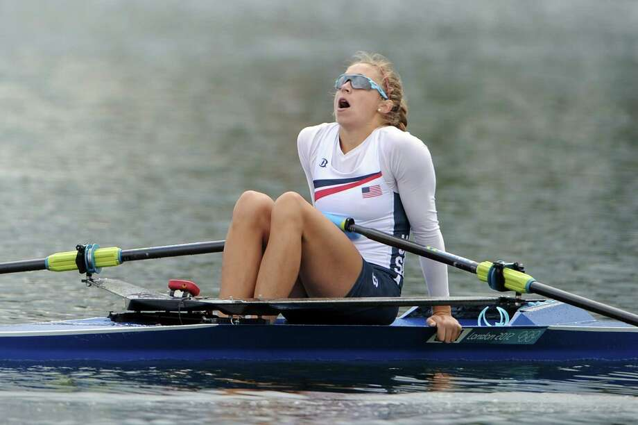 Genevra Stone of the United States reacts after competing in the Women's Single Sculls B final at Eton Dorney in Windsor, England. Photo: Harry How, Getty Images / 2012 Getty Images