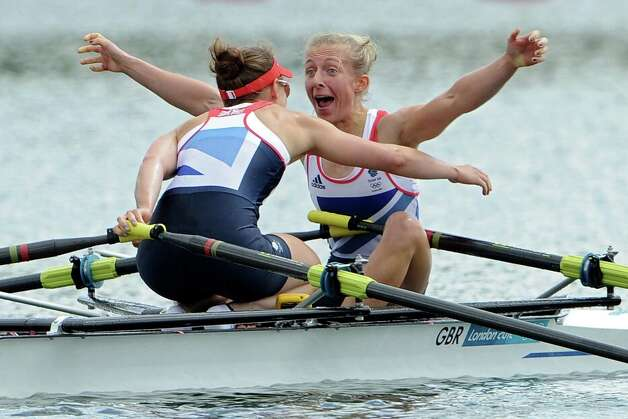 Katherine Copeland and Sophie Hosking of Great Britain celebrate winning gold in the Lightweight Women's Double Sculls Final at Eton Dorney. Photo: Harry How, Getty Images / 2012 Getty Images