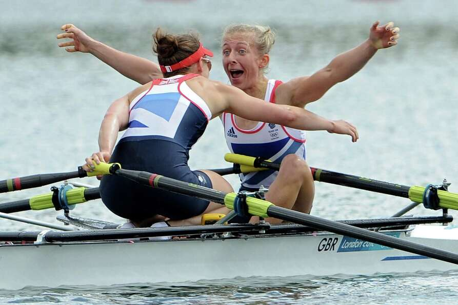 Katherine Copeland and Sophie Hosking of Great Britain celebrate winning gold in the Lightweight Wom