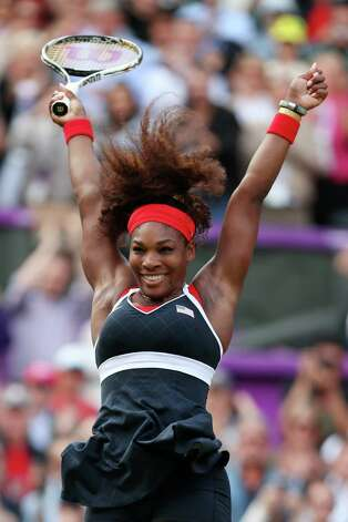 Serena Williams of the United States reacts after defeating Maria Sharapova of Russia to win the gold medal match of the Women's Singles Tennis at the All England Lawn Tennis and Croquet Club. Photo: Clive Brunskill, Getty Images / 2012 Getty Images