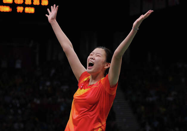 Xuerui Li of China celebrates winning her Women's Singles Badminton Gold Medal match against Yihan Wang of China at Wembley Arena. Photo: Michael Regan, Getty Images / 2012 Getty Images