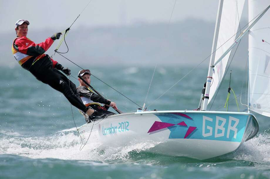 Luke Patience (R) and Stuart Bithell of Great Britain compete in the Men's 470 Sailing at the Weymouth & Portland Venue at Weymouth Harbour in Weymouth, England. Photo: Clive Mason, Getty Images / 2012 Getty Images