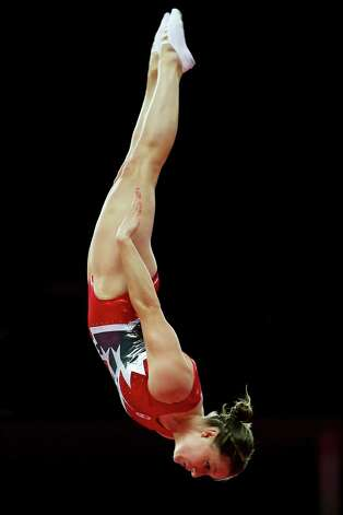 Rosannagh Maclennan of Canada competes in the  Trampoline at North Greenwich Arena. Photo: Ronald Martinez, Getty Images / 2012 Getty Images