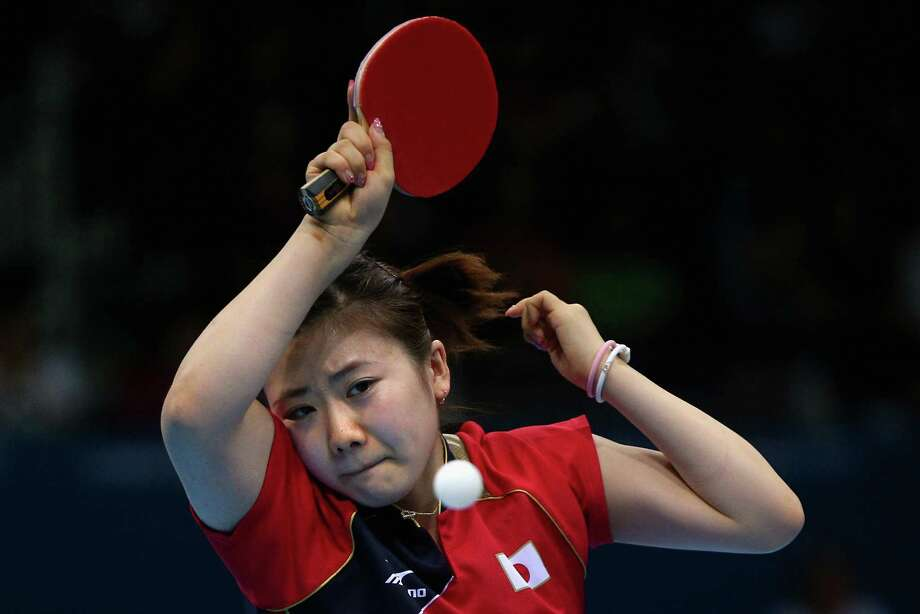 Ai Fukuhara of Japan completes during Women's Team Table Tennis quarterfinal match against team of Germany at ExCeL. Photo: Feng Li, Getty Images / 2012 Getty Images