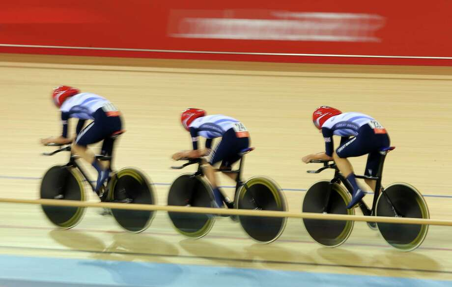 Dani King, Laura Trott, and Joanna Rowsell of Great Britain win the Gold medal and break the World Record in the Women's Team Pursuit Track Cycling Finals at Velodrome. Photo: Alex Livesey, Getty Images / 2012 Getty Images