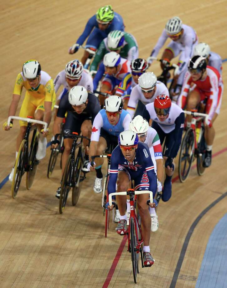 Bobby Lea of the United States leads the pack during the Men's Omnium Track Cycling Elimination Race at Velodrome. Photo: Cameron Spencer, Getty Images / 2012 Getty Images
