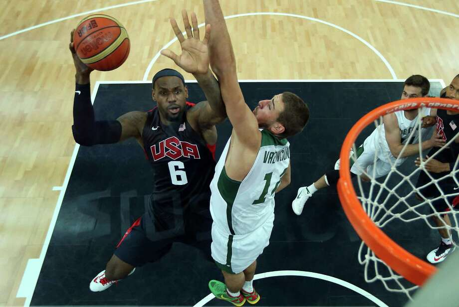 (A polarizing filter was used for this image.) Lebron James #6 of United States puts up a shot against Lithuania during the Men's Basketball Preliminary Round match at the Basketball Arena. Photo: Christian Petersen, Getty Images / 2012 Getty Images