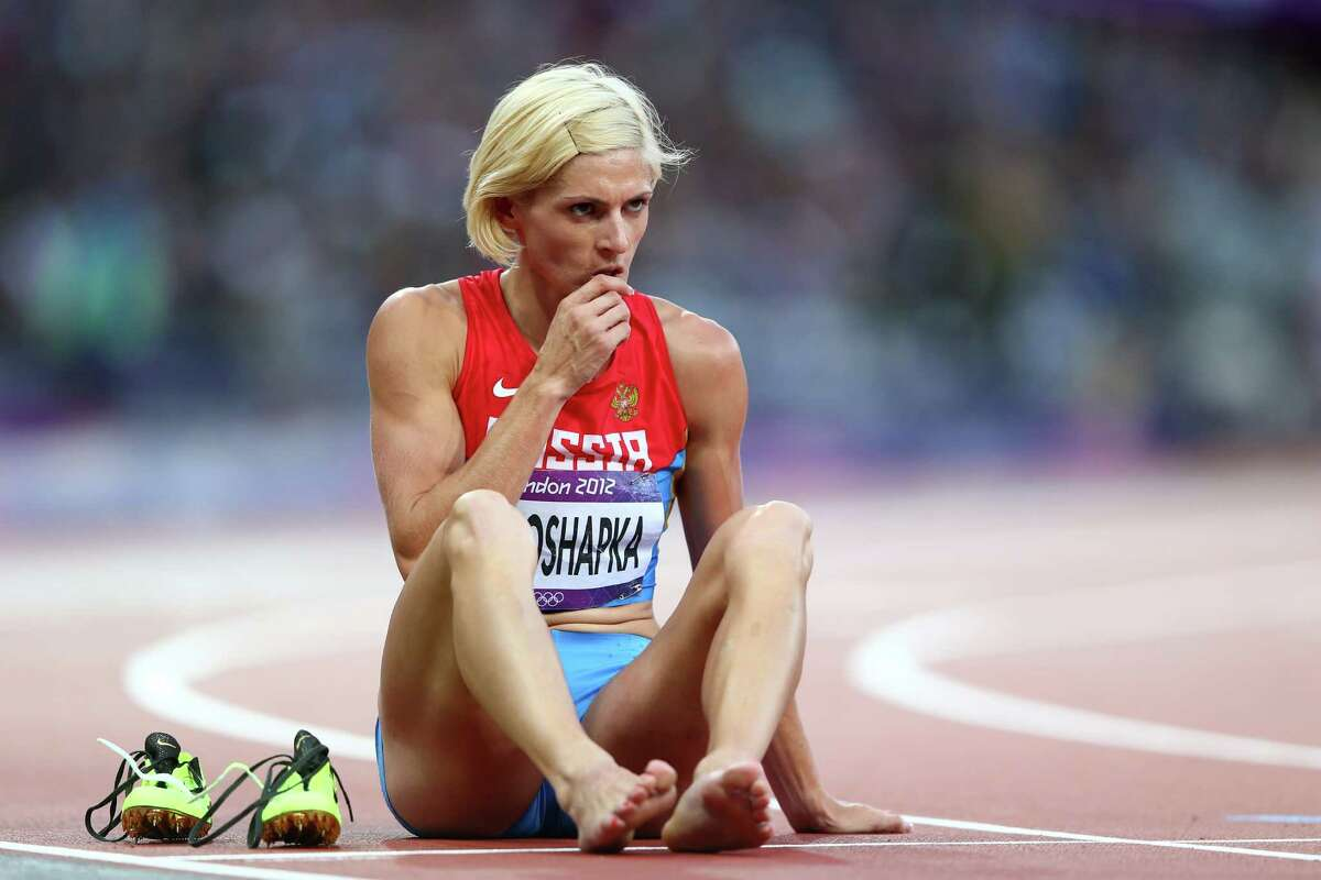 Antonina Krivoshapka of Russia sis on the track after competing in the Women's 400m Semi Final at Olympic Stadium on Day 8 of the 2012 Olympic Games at Olympic Stadium on Aug. 4, 2012 in London.