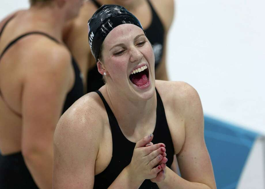 Missy Franklin of the United States celebrates after the United States won the Women's 4x100m Medley Relay at the Aquatics Centre. Photo: Ronald Martinez, Getty Images / 2012 Getty Images