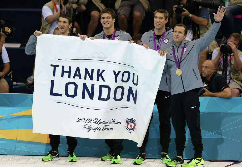 Gold medallists (L-R) Michael Phelps, Nathan Adrian, Matthew Grevers, and Brendan Hansen of the United States pose following the medal ceremony for the Men's 4x100m Meldey Relay Final at the Aquatics Centre. Photo: Ronald Martinez, Getty Images / 2012 Getty Images