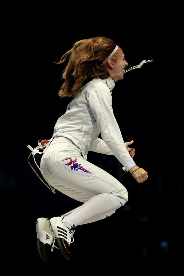 Susannah Scanlan of the United States celebrates winning the Bronze Medal Match 31-30 against Russia during the Women's Epee Team Fencing Finals at ExCeL. Photo: Phil Walter, Getty Images / 2012 Getty Images