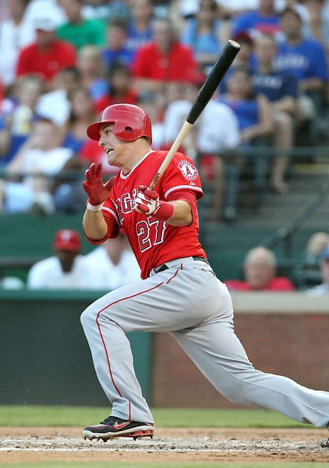 Mike Trout, who turns 21 on Tuesday, is leading the AL in batting average, runs scored and stolen bases. Photo: Layne Murdoch, Getty Images